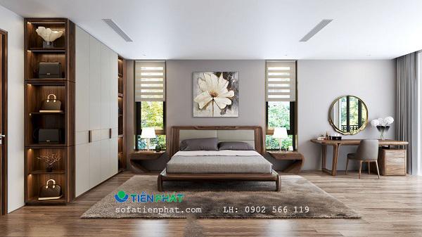 Nội thất phòng ngủ sang trọng sử dụng gỗ óc chó