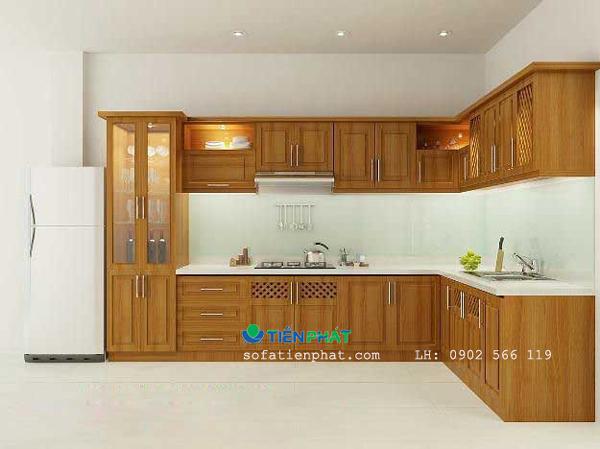 Mẫu tủ bếp gỗ chữ L đẹp