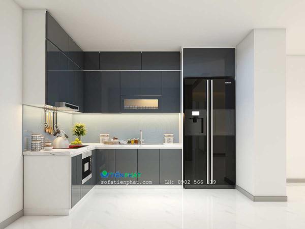 Mẫu tủ bếp có bồn rửa được thiết kế 2 màu trắng và đen