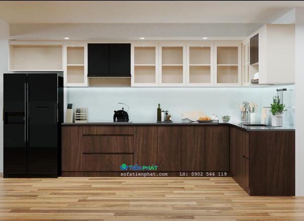 Mẫu Tủ bếp được làm chất liệu gỗ công nghiệp