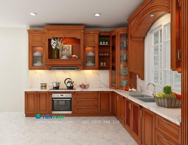 Giá tủ bếp gỗ tự nhiên